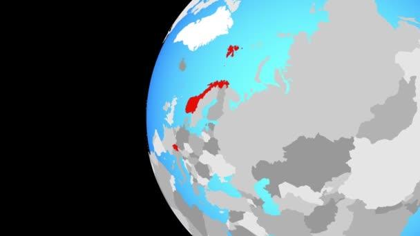 Země ESVO na modré politické globe. Obíhající kolem zeměkoule a přiblížení k zemi. 3D obrázek