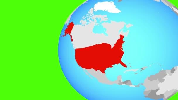 USA na modré politické globe. Obíhající kolem zeměkoule a přiblížení k zemi. 3D obrázek