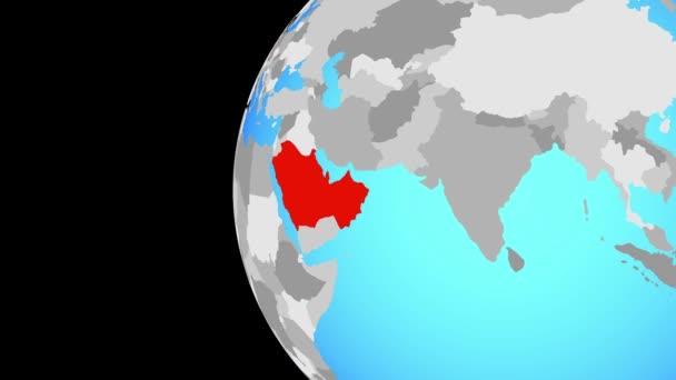 Ccasg země na modré politické globe. Obíhající kolem zeměkoule a přiblížení k zemi. 3D obrázek