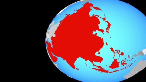 Asien auf blauen politischen Welt. Globus umkreisen und Zoomen auf dem Land. 3D illustration.