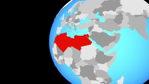 Severní Afriky na modré politické globe. Obíhající kolem zeměkoule a přiblížení k zemi. 3D obrázek