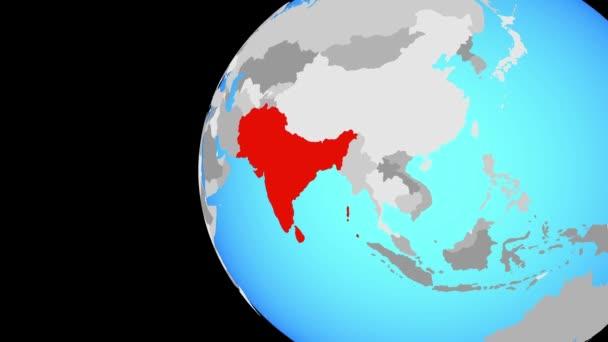 SAARC členské státy na modré politické globe. Obíhající kolem zeměkoule a přiblížení k zemi. 3D obrázek