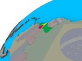 Guyana mit Nationalflagge auf 3D-Globus. 3D illustration