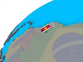 Suriname mit Nationalflagge auf 3D-Globus. 3D illustration