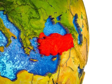 Turkey on 3D model of Earth with divided countries and blue oceans. 3D illustration.