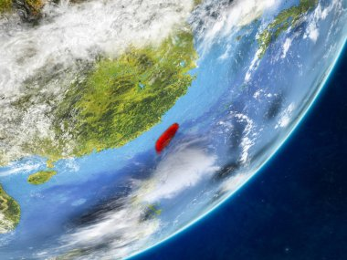 Taiwan on model of planet Earth with country borders and very detailed planet surface and clouds. 3D illustration. Elements of this image furnished by NASA.