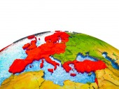 Photo OECD European members on 3D Earth with visible countries and blue oceans with waves. 3D illustration.