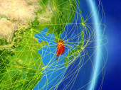 South Korea on planet planet Earth with network. Concept of connectivity, travel and communication. 3D illustration. Elements of this image furnished by NASA.