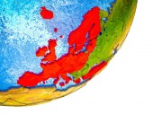 Photo OECD European members on 3D model of Earth with water and divided countries. 3D illustration.
