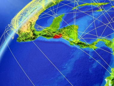 El Salvador on model of planet Earth with international networks. Concept of digital communication and technology. 3D illustration. Elements of this image furnished by NASA.