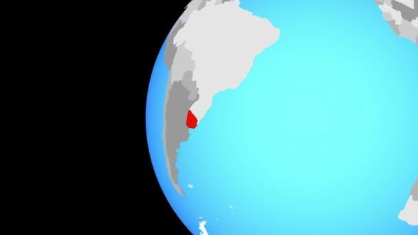 Closing in on Uruguay on blue globe