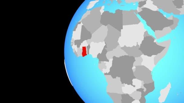 Schluss mit Ghana auf blauem Globus