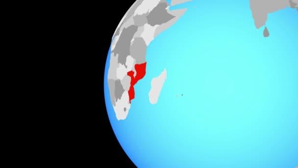 Schließen in mosambikanischen auf blauer Globus