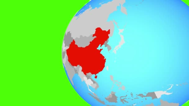 Closing in on China on blue globe