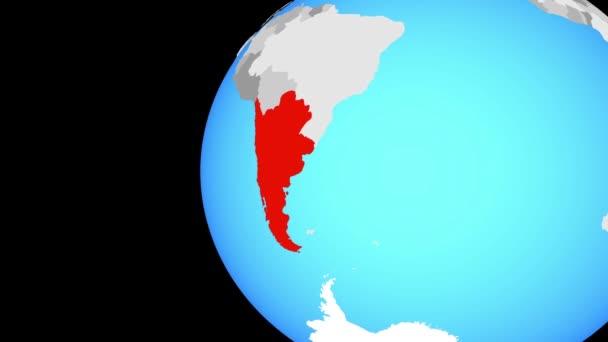 Schließen auf Südkegel auf blauer Globus