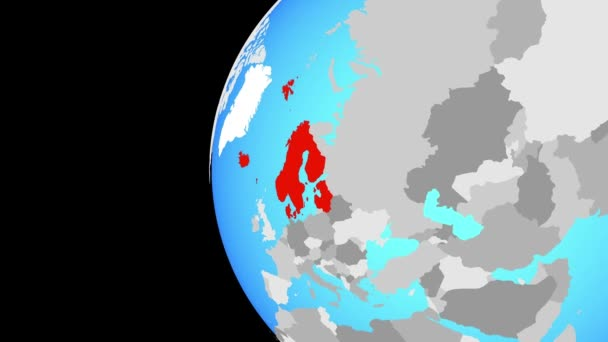Closing in on Northern Europe on blue globe