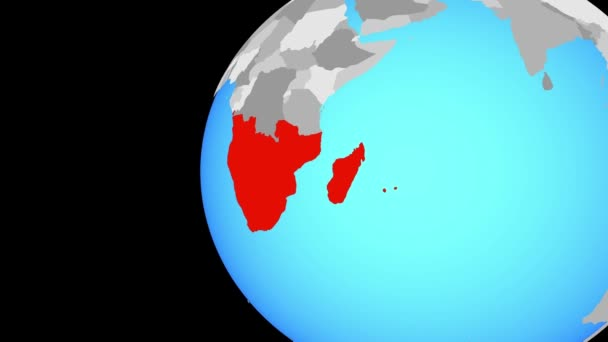 Closing in on Southern Africa on blue globe