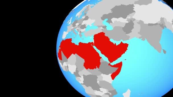 Closing in on Arab League on blue globe
