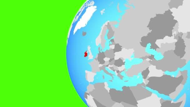 Closing in on Ireland on blue globe