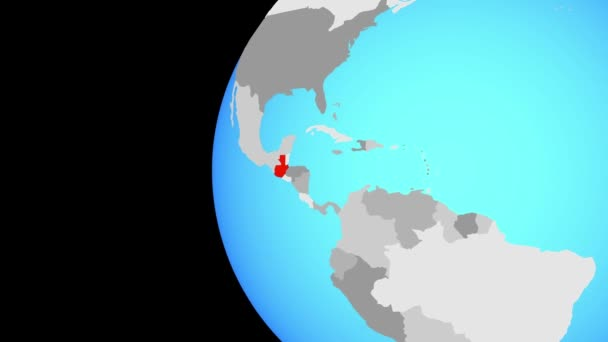 Uzavření Guatemaly na modrém glóbu