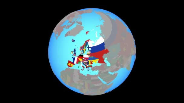 Zoom to Europe with flags on map