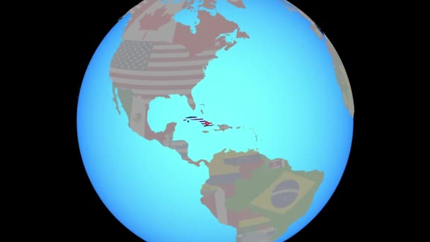 Zoom to Cuba with flag on map