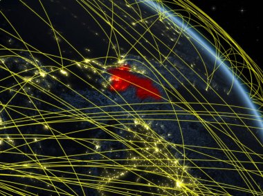 Tajikistan from space on model of planet Earth at night with network. Concept of digital technology, connectivity and travel. 3D illustration. Elements of this image furnished by NASA.