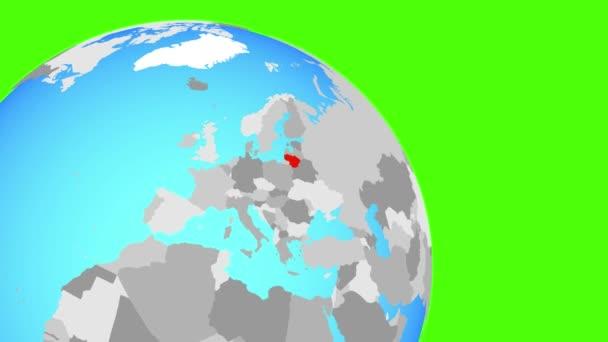 Přiblížení na Litvu na modré zeměkouli