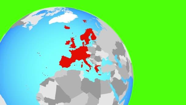 Přiblížení k západní Evropě na modré zeměkouli