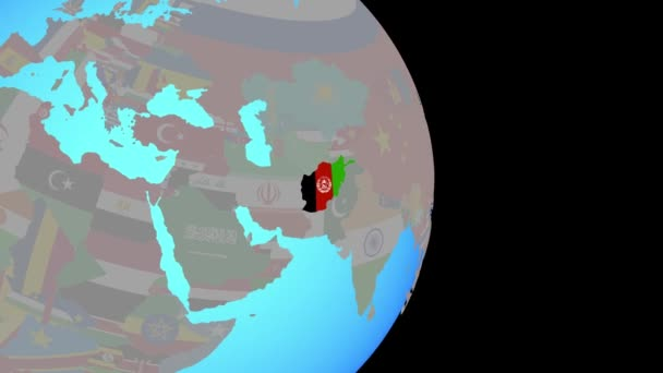Zoom to Afghanistan with flag on globe