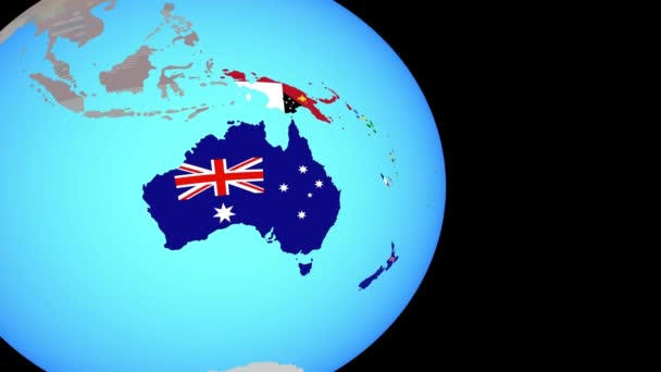 Zoom to Australia with flags on globe