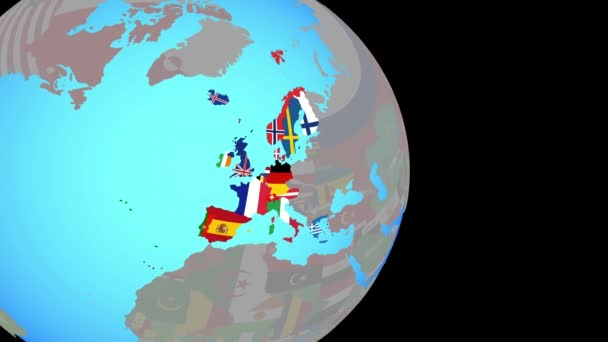 Zoom to Western Europe with flags on globe