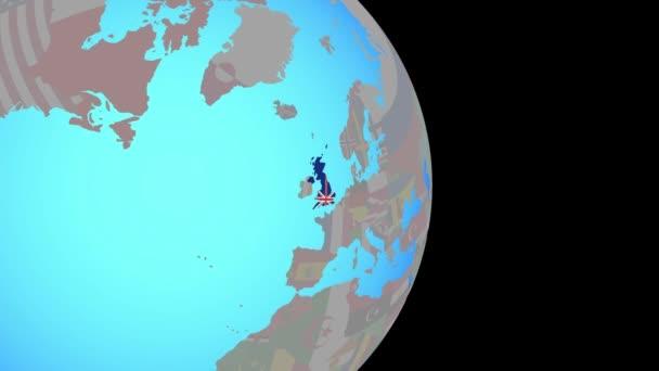 Zoom to United Kingdom with flag on globe