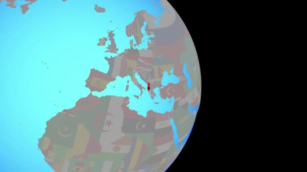 Zoom to Albania with flag on globe