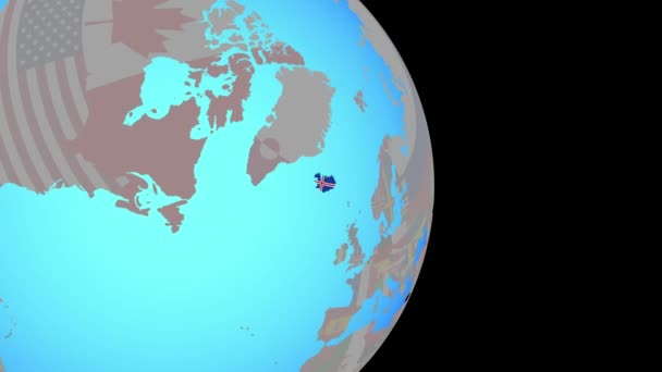 Zoom to Iceland with flag on globe