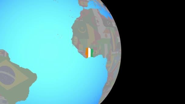Přiblížit na Pobřeží slonoviny s vlajkou na zeměkouli