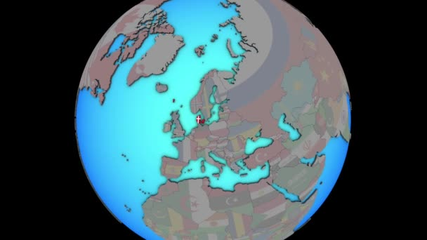 Denmark with flag on 3D map