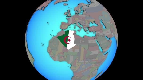 Algeria with flag on 3D map
