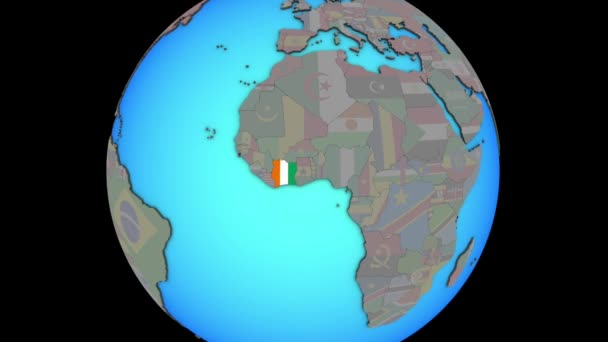 Ivory Coast with flag on 3D map
