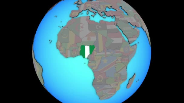 Nigeria with flag on 3D map