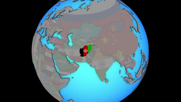 Afghanistan with flag on 3D map