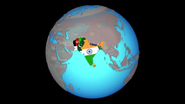 South Asia with flags on 3D map on map of world globe, map of north america globe, map of new zealand globe, map of middle east globe,