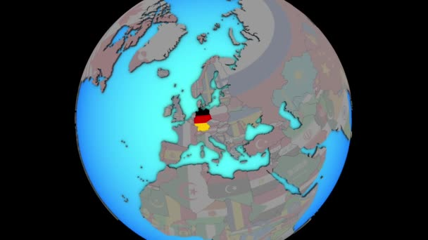 Germany with flag on 3D map