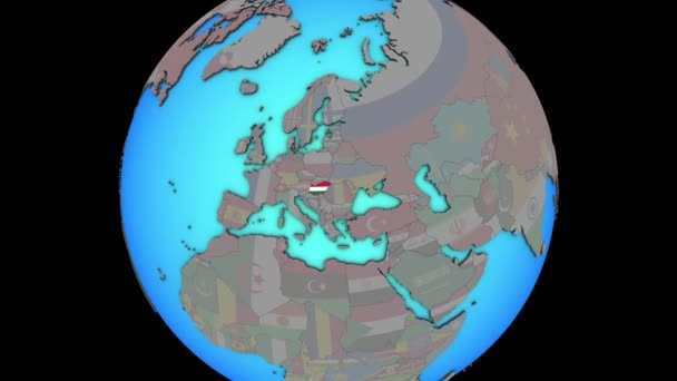 Hungary with flag on 3D map