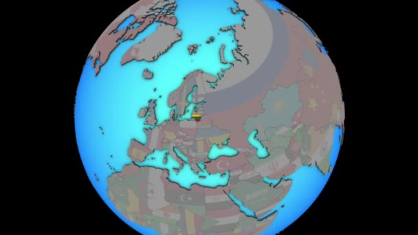 Litva s vlajkou na 3D mapě