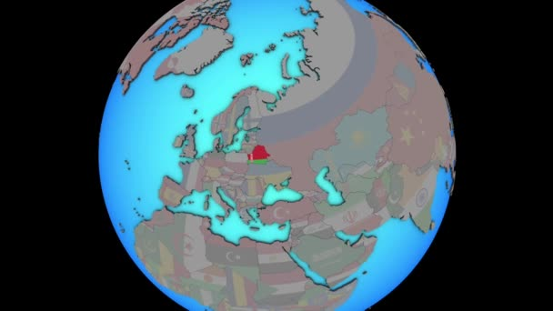 Belarus with flag on 3D map