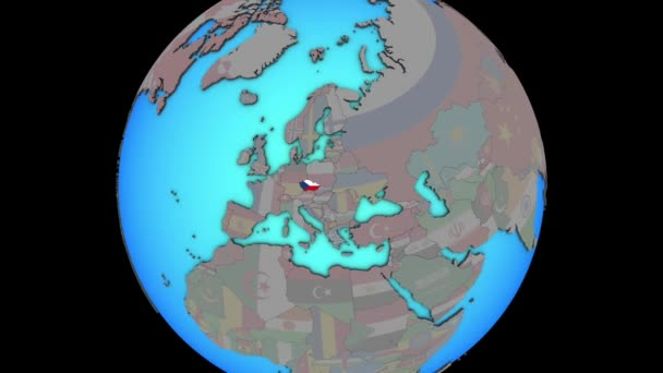 Czech republic with flag on 3D map