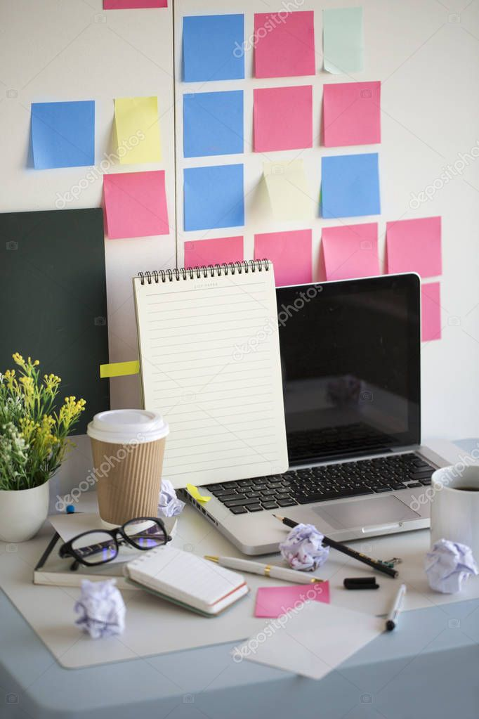 Office table top blank note pad text space image. Text space image.