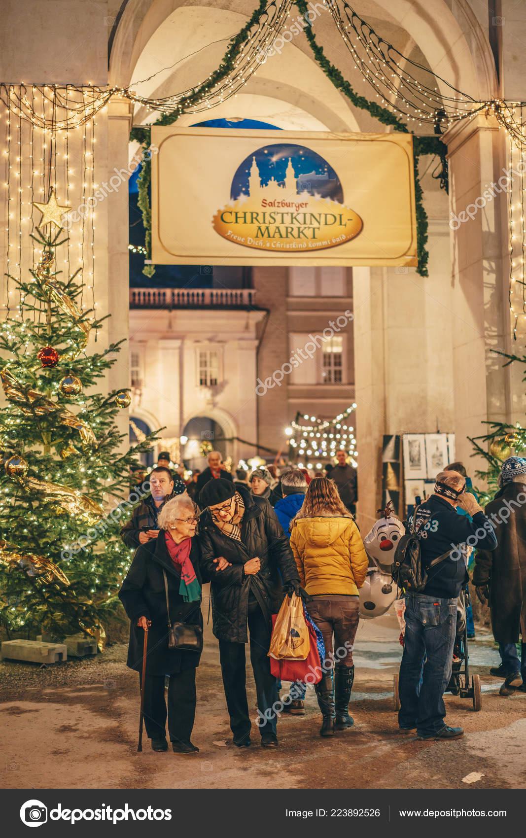Salzburg Christmas Market.Pics December Salzburg Austria December 2018 People
