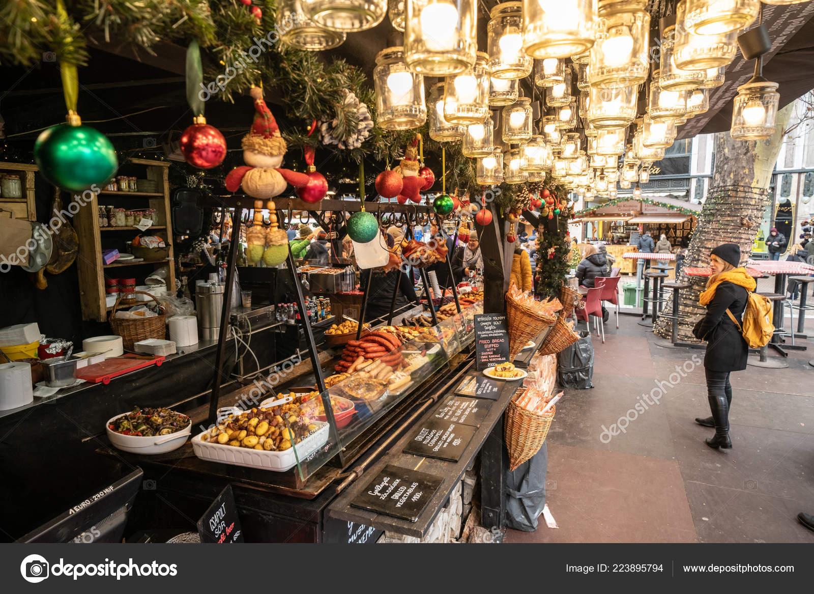 Vorosmarty Square Budapest Christmas Market.Budapest Hungary December 2017 Hungarian Street Food